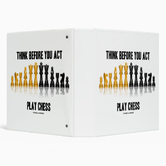 Think Before You Act Play Chess Reflective Chess Vinyl Binders