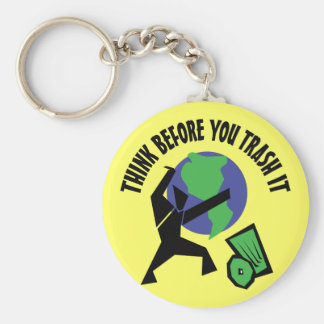 Think Before You Trash It Basic Round Button Keychain