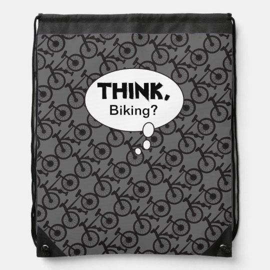 Think, Biking Silhouette Pattern Cinch Bags