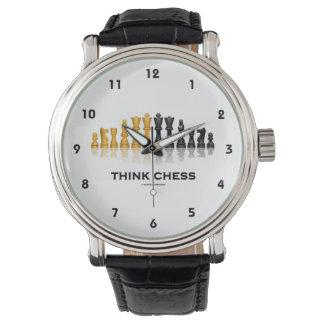 Think Chess Reflective Chess Set Chess Advice Wrist Watch