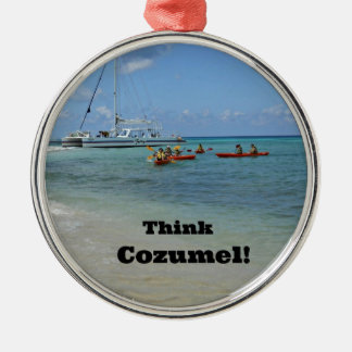 Think Cozumel! Silver-Colored Round Ornament