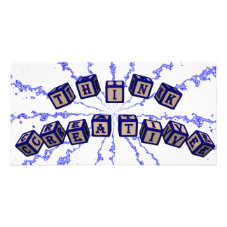 Think Creative toy blocks in blue. Photo Greeting Card