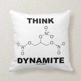Think Dynamite (Chemical Nitroglycerin Molecule) Throw Pillow