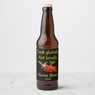 Think Globally Act Locally Hummingbird Beer Label
