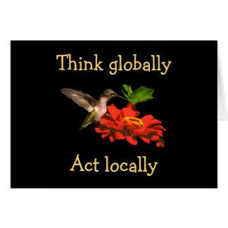 Think Globally Act Locally Hummingbird Blank Card