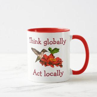 Think Globally Act Locally Hummingbird Red Mug