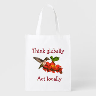 Think Globally Act Locally Hummingbird Reusable Grocery Bag