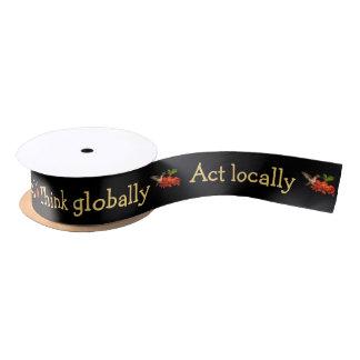 Think Globally Act Locally Hummingbird Ribbon Satin Ribbon