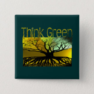 Think Green 2 Inch Square Button