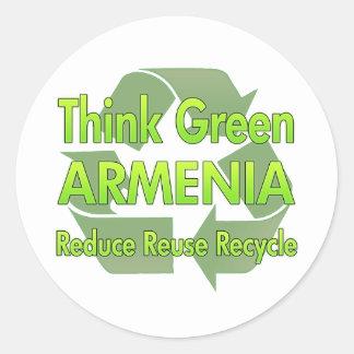 Think Green Armenia Classic Round Sticker