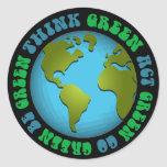 Think Green Be Green Design Round Sticker