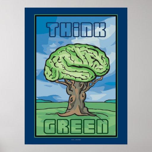 Think Green Brain Print