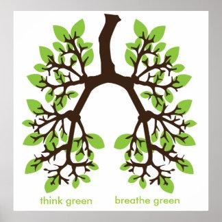 think green, breathe green print