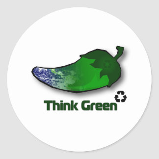 Think Green Classic Round Sticker