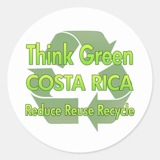 Think Green Costa Rica Classic Round Sticker