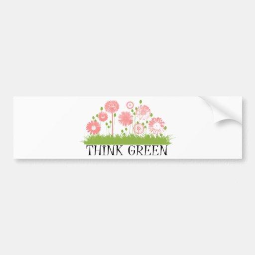 Think Green Cute Products! Car Bumper Sticker