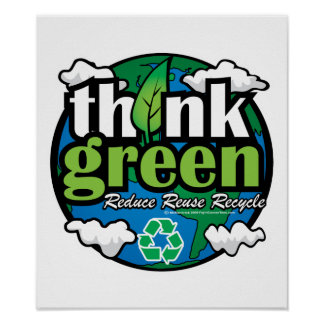 Think Green Earth Poster