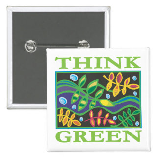 Think Green Environmental 2 Inch Square Button