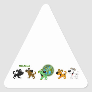 Think Green (Leaf and Four Pups) Triangle Sticker