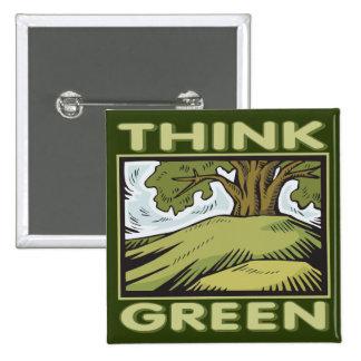 Think Green Oak Tree 2 Inch Square Button