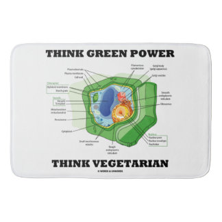 Think Green Power Think Vegetarian Plant Cell Bath Mat