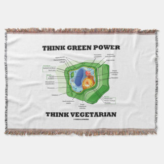 Think Green Power Think Vegetarian Plant Cell Throw Blanket