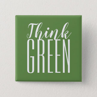 Think green pro environment quote button. 2 inch square button