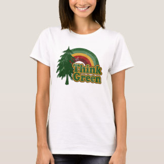 Think Green, Retro Rainbow and Tree T-Shirt