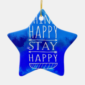 Think Happy Thoughts Collectible Gifts Ceramic Star Ornament