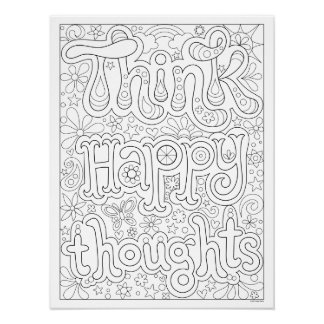 Think Happy Thoughts Coloring Poster