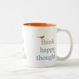 Think Happy Thoughts Two-Tone Coffee Mug