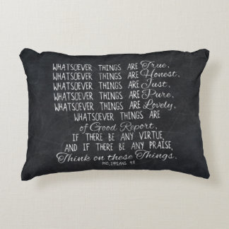 Think on These Things Christian Bible Scripture Decorative Pillow