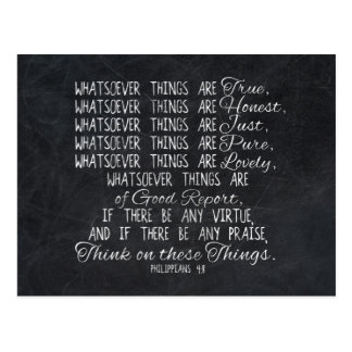 Think on These Things Christian Bible Scripture Postcard