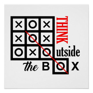 think outside box text message smart tic tac toe c poster