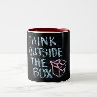 THINK OUTSIDE THE BOX - AWESOME SLOGAN MUG