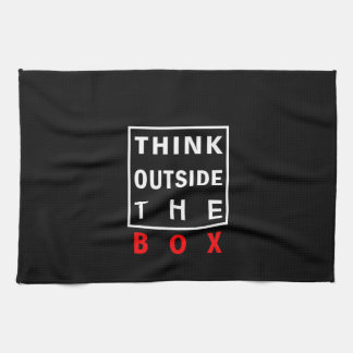 think outside the box red smart text quote clever kitchen towel