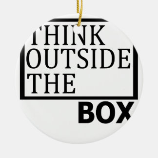 Think Outside The Box Round Ceramic Ornament