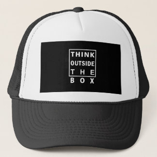 think outside the box smart text quote clever mess trucker hat