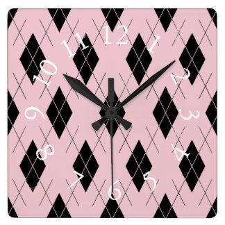 Think-Pink-Argyle-Stylish-Feminine-Multi-Shapes Square Wall Clock