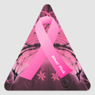 Think Pink Breast Cancer Ribbon Triangle Sticker