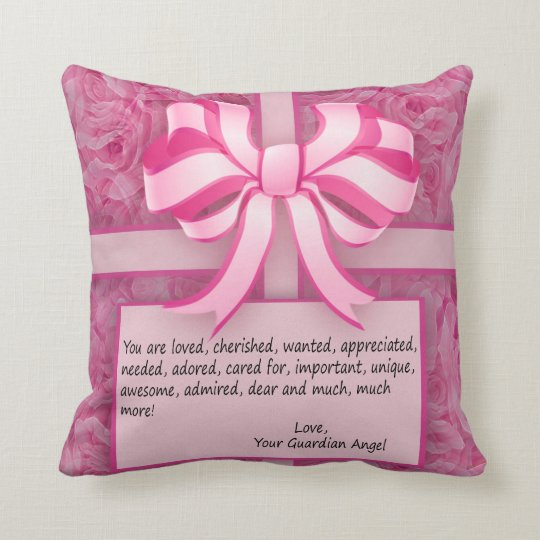 Think Pink Inspirational Message with Roses Throw Pillow