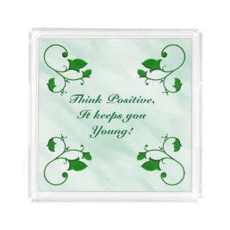 Think Positive It Keeps You Young Stylish Leaves Serving Tray
