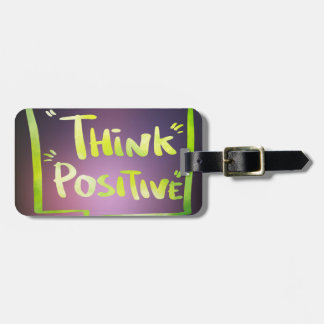 Think Positive Luggage Tag w/ leather strap