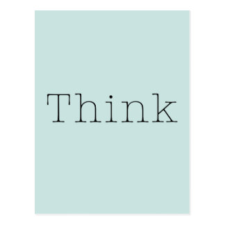 Think Quotes Blue Aqua Inspirational Thought Quote Postcard