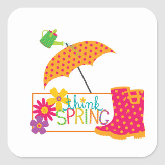 Think Spring Galoshes Flowers Umbrella Square Sticker