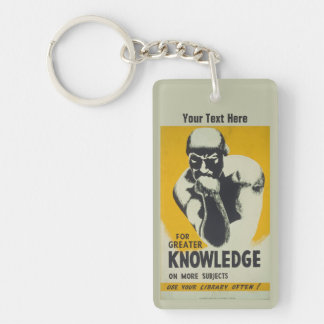 Thinker Vintage Library Poster Illinois WPA Keychain