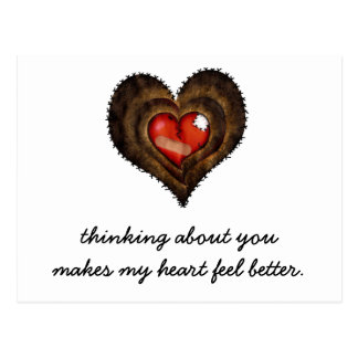 Thinking about you makes my heart feel better postcard