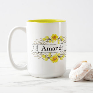 Thinking-Breathing w/ Personalized Name Wreath Mug