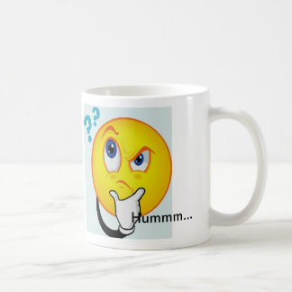 Thinking Emoticon Mug reads Hummm...