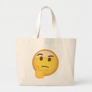 Thinking Face Emoji Large Tote Bag